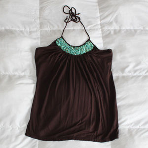 Brown Halter Top w Turquoise Stone Embroidery